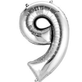 Folieballon 9 zilver 26''