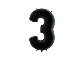 Folieballon 3 zwart 26''