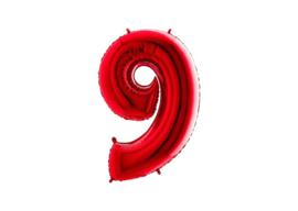 Folieballon 9 rood 26''