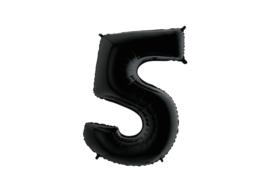 Folieballon  5 zwart 26''