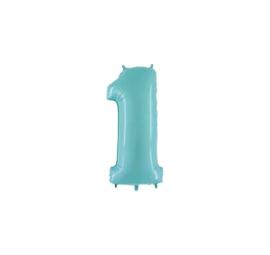 Folieballon 1 pastelblauw 14''