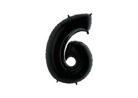 Folieballon 6 zwart 26''