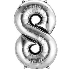 Folieballon 8 zilver 26''