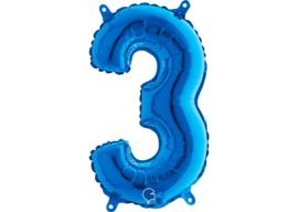 Folieballon 3 blauw 26''