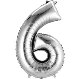 Folieballon 6 zilver 26''