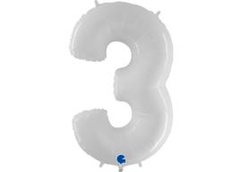 Folieballon 3 wit 40''