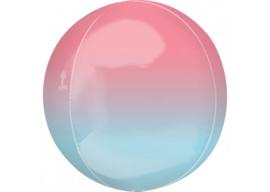 Ombre roze & blauw 16x16''
