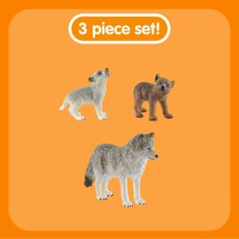 Wolf met 2 welpen set - Schleich 42472