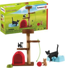 Krabpaal set met katten - Schleich 42501