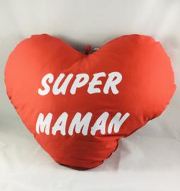 Coussin cœur 60cm «SUPER MAMAN»