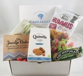 Snoep giftbox VEGAN met kader met tekst naar keuze