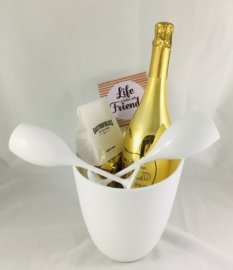 Champagnekoeler met mousserende WITTE wijn en onderzetbordje met tekst naar keuze