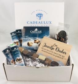Chocolade  giftbox SUIKERVRIJ  met kader met tekst naar keuze