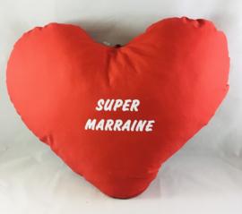 Coussin cœur 60cm «SUPER MARRAINE «