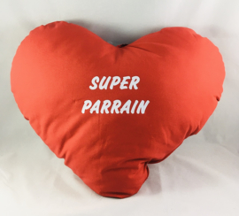 Coussin cœur 60cm «SUPER PARRAIN «