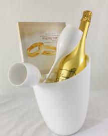 Champagnekoeler met glazen en mousserende wijn en met een mooie canvas kadertje