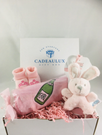 Coffret cadeau  avec bavoir avec texte de votre choix,baby pantoufles et hochet lapin