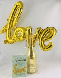 """Ijszak met mousserende WITTE wijn en met wenskaart naar keuze met """"love""""ballon inbegrepen"""