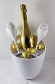 Champagnekoeler met 2 witte champagneglazen 💛