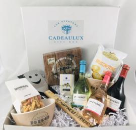 BBQ giftbox met BBQ spatel met tekst naar keuze met wijn