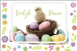 Wenskaart Vrolijk Pasen (kuiken)