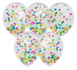 Ballon transparant gekleurde confetti  5 stuks