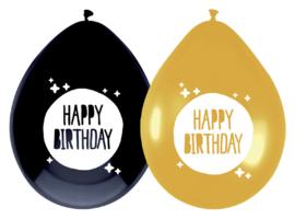 Gouden en zwarte ballonen Happy Birthday 6 stuks