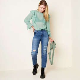 Enkellange jeans met versleten details