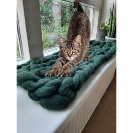 Kattendeken voor op de vensterbank van XXL merino lontwol