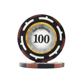 Clear Vision Pokerchip 13.5 gram Bruin Waarde 100 Per 25