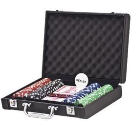 @Pokerset 200 Chips Dice 11.5 gram in lederlook koffer