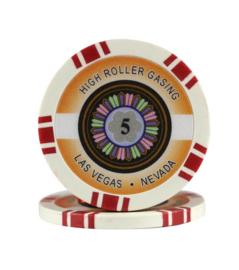 High Roller Pokerchip 11,5 gram Rood Waarde 5 Per 25