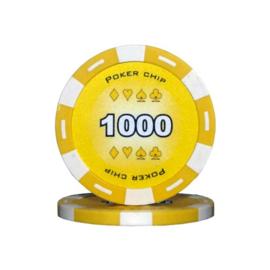 Poker Pokerchip 11.5 gram Geel Waarde 1000 Per 25