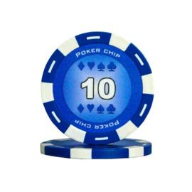 Poker Pokerchip 11.5 gram Donker Blauw Waarde 10 Per 25