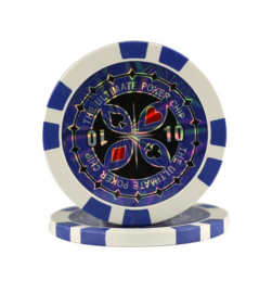 @Ultimate Pokerchip 13.5 gram Donker Blauw Waarde 10 Per 25