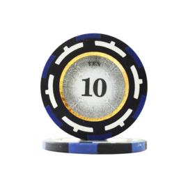 Clear Vision Pokerchip 13.5 gram Donker Blauw Waarde 10 Per 25