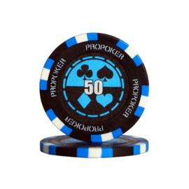 Pro Poker Pokerchip 13.5 gram Licht Blauw Waarde 50 Per 25