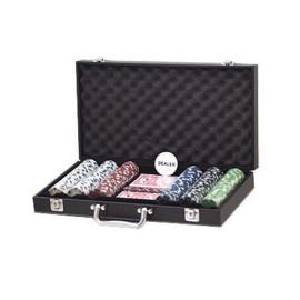 @Pokerset 300 Chips Dice 11.5 gram in Lederlook koffer