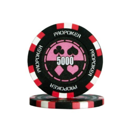 Pro Poker Pokerchip 13.5 gram Roze Waarde 5000 Per 25