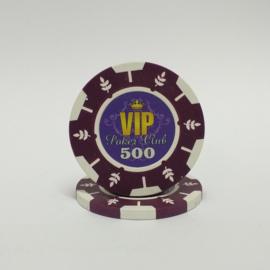 VIP Pokerchip 13.5 gram Paars Waarde 500 Per 25