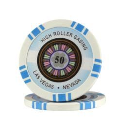High Roller Pokerchip 11,5 gram Licht Blauw Waarde 50 Per 25