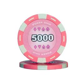 @Poker Pokerchip 11.5 gram Roze Waarde 5000 Per 25
