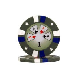 Pokerchip 3-Color 13.5 gram Grijs Waarde 1, per 25
