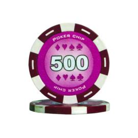 Poker Pokerchip 11.5 gram Paars Waarde 500 Per 25