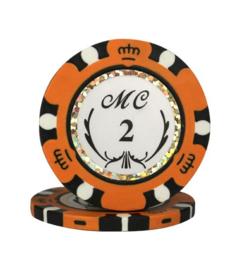 @Monte Carlo Pokerchip 13.5 gram Oranje Waarde 2 Per 25