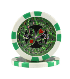 Ultimate Pokerchip 13.5 gram Groen Waarde 25 Per 25