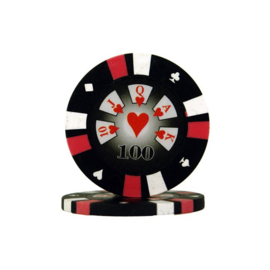 Pokerchip 3-Color 13.5 gram Zwart Waarde 100 per 25