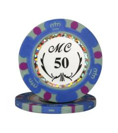 Monte Carlo Pokerchip 13.5 gram Licht Blauw Waarde 50 Per 25