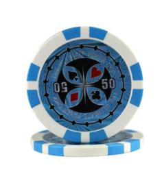 Ultimate Pokerchip 13.5 gram Licht Blauw Waarde 50 Per 25