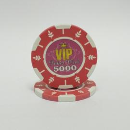 VIP Pokerchip 13.5 gram Roze Waarde 5000 Per 25